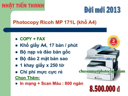 May Photocopy Ricoh MP 171L gia re