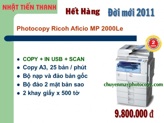 May Photocopy Ricoh MP 2000L2 gia re