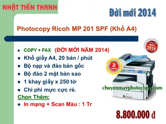May Photocopy Ricoh MP 201 spf Gia re