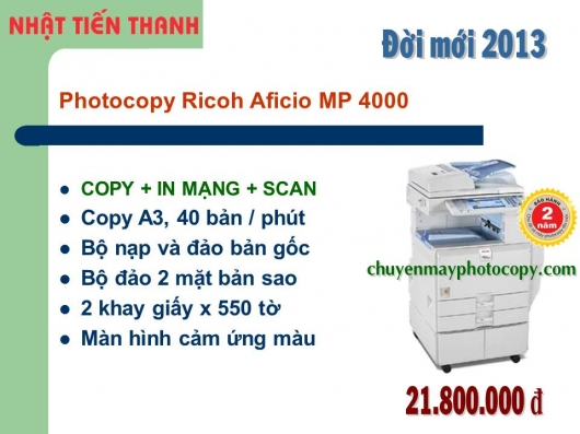 May Photocopy Ricoh MP 4000 gia re