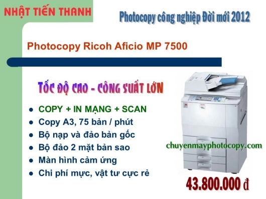 May Photocopy Ricoh MP 7500 gia re